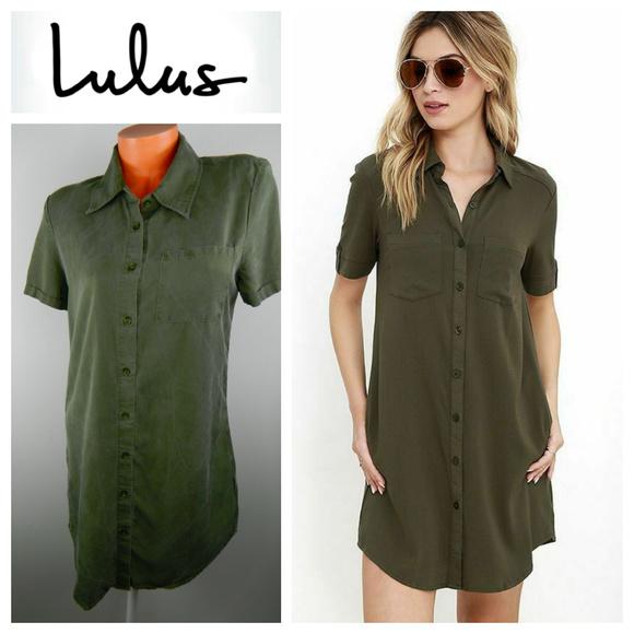 Lulu's Dresses & Skirts - LULUS Oxford Comma SHIRTDRESS Mini GREEN Medium
